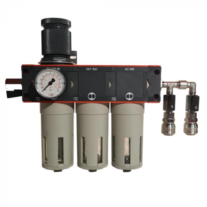 Baterie filtrare aer comprimat, MW D300, filtrare aer vopsitorie cu regulator, baterie 3 filtre, pana la 0.003 microni cu carbon activ, debit 950 l/min [0]