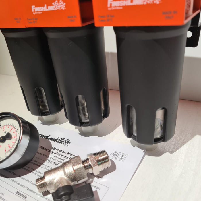 Baterie filtrare aer, DeVilbiss FLRCAC-1, filtrare aer cu regulator, baterie 3 filtre, pana la 0.003 microni cu carbon activ 3