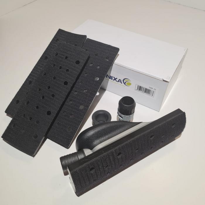 Bloc de slefuit manual, Finixa SAB 35, velcro cu aspirare, maner ergonomic, 4 adaptoare forme diferite, dimensiune 70mm x 198mm [3]