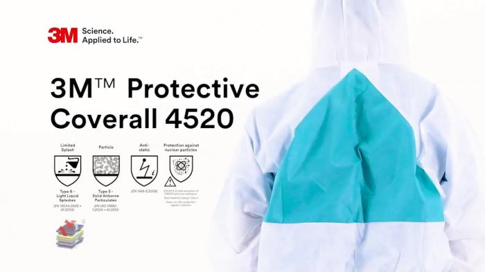 Combinezon protectie impermeabil ALB cu gluga 3M™ 4520 foarte rezistent, fără scame pentru uz general 2