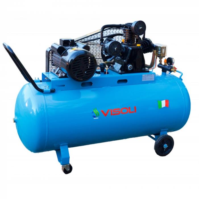 Compresor aer cu piston, Visoli VSL-200/10, alimentare 220/380V, aer aspirat 360 l/min, butelie 200 litri [0]