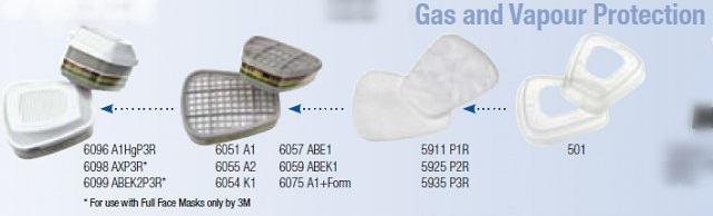 Filtre pentru masca 3M™ 6057 protectie ABE1, protejează împotriva gazelor și a vaporilor organici (set 2 filtre) 1