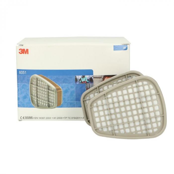 Filtre pentru masca 3M™ 6051 protectie A1, protejează împotriva gazelor și a vaporilor organici (set 2 filtre) 0
