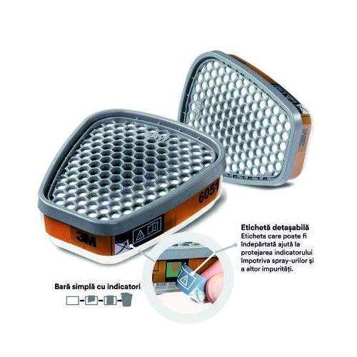 Filtre pentru masca 3M™ 6051 protectie A1, protejează împotriva gazelor și a vaporilor organici (set 2 filtre) 2