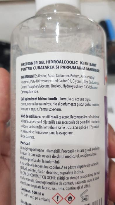 Gel HidroAlcoolic igienizant pentru maini Alcool 70% (Aloe Vera + Vitamina E) 500 ml [2]