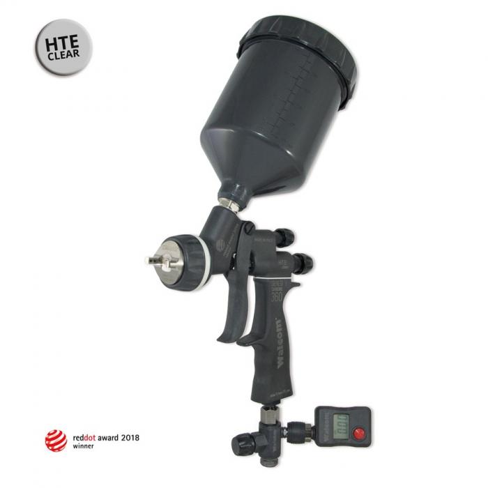 Pistol de vopsit, Walcom Genesi Carbonio 360 Light HTE clear(DIGITAL),cupa plastic 600 ml, duza la alegere, valiza, regulator aer, consum aer 380 l/min [0]