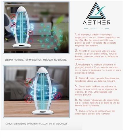 Lampa UV bactericida Aether oGuard Ozon, sterilizează și dezinfectează 99,9% de diferiți agenți patogeni bacterieni 1