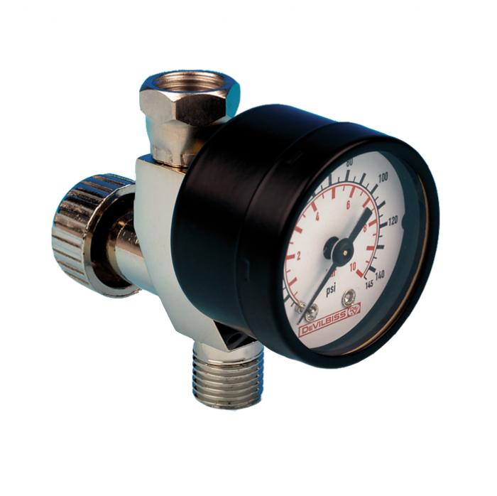 Regulator de presiune aer cu manometru mecanic, DeVilbiss HAV-501-B, montare pe furtun, cupla 1/4, maxim 11 bar [0]