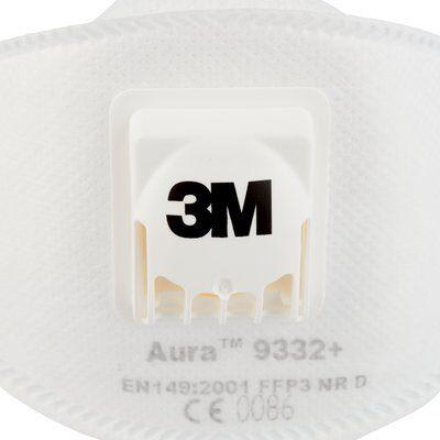Masca protectie respiratorie 3M Aura™ 9332+, protectie ridicata FFP3, supapa 3M™ Cool Flow™ 9