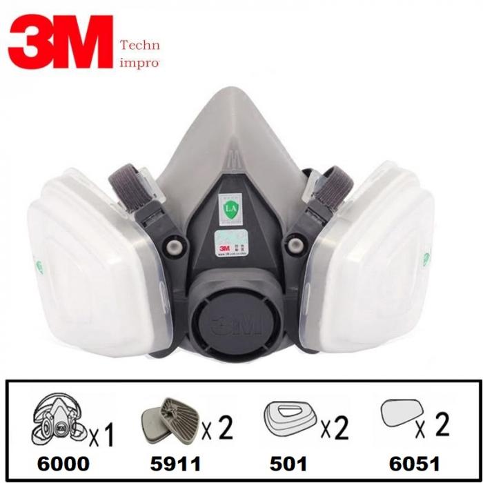 Pachet masca protectie profesionala 3M™ 6000 Series cu filtre A1 si prefiltre P1 incluse (pachet complet) 1