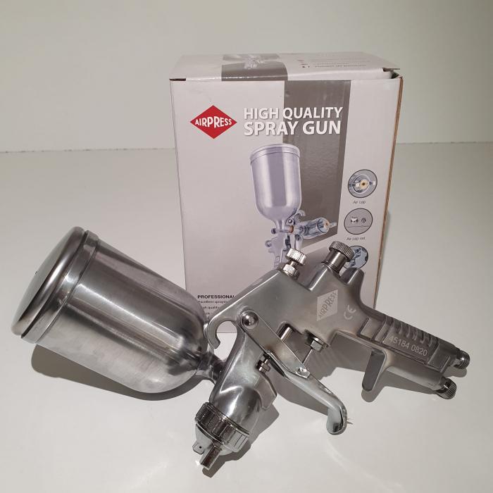 Pistol de vopsit, Airpress 45184 HP, cupa metal 400 ml, duza la alegere, consum aer incepand cu 113 l/min [7]