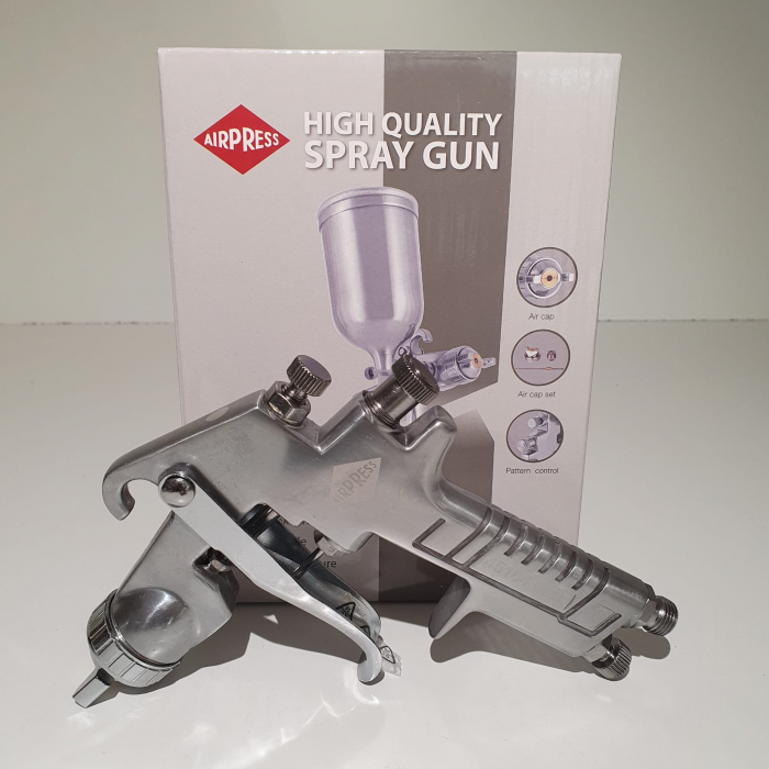 Pistol de vopsit, Airpress 45184 HP, cupa metal 400 ml, duza la alegere, consum aer incepand cu 113 l/min [1]