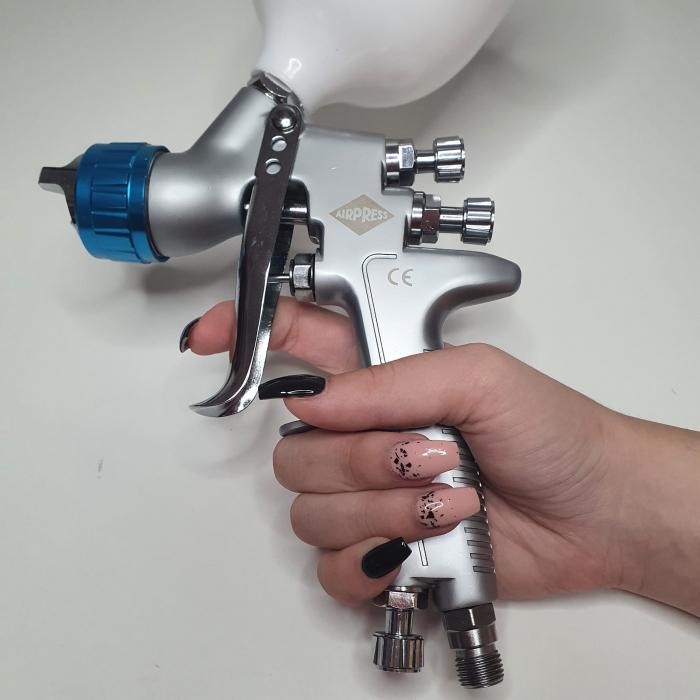 Pistol de vopsit, Airpress 45194 LVMP, cupa plastic 600 ml, duza la alegere, consum aer incepand cu 114 l/min [10]