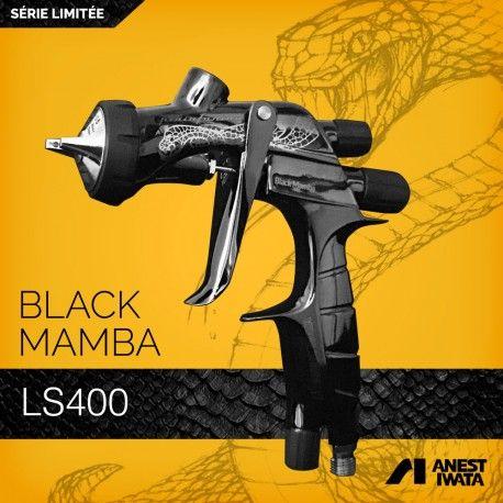 Pistol de vopsit, Anest Iwata Pininfarina Black Mamba LS-400 Entech, pachet Pro Kit, duza ø 1,3 mm ETS, cana 600 ml 1
