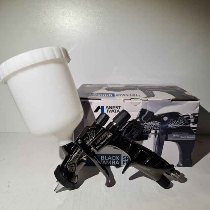 Pistol de vopsit, Anest Iwata Pininfarina Black Mamba LS-400 Entech, pachet Pro Kit, duza ø 1,3 mm ETS, cana 600 ml 6