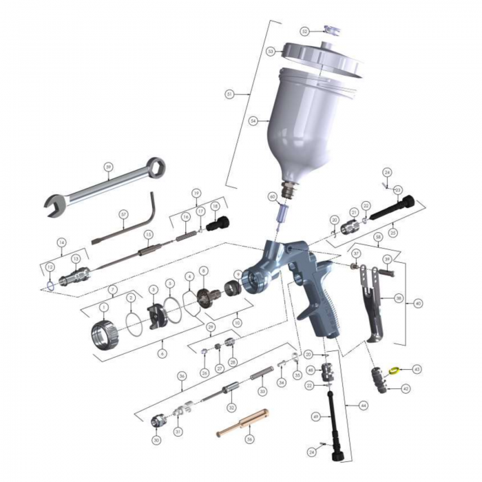 Pistol de vopsit DeVilbiss Advance HD Conventional, cupa plastic 560 ml, consum aer de la 339 l/min 1