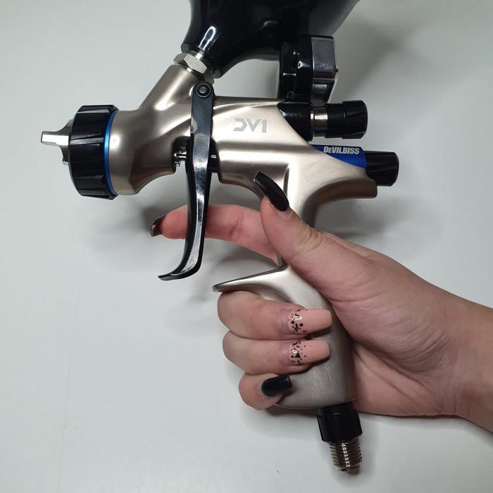Pistol de vopsit DeVilbiss DV1 VOPSEA (DIGITAL), cupa plastic 600 ml, duza la alegere, consum aer incepand cu 300 l/min [14]