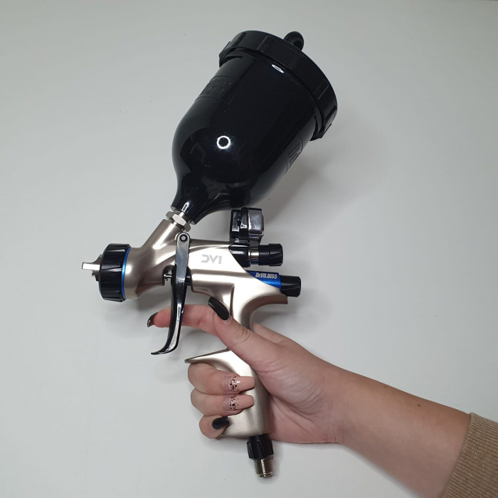 Pistol de vopsit DeVilbiss DV1 VOPSEA (DIGITAL), cupa plastic 600 ml, duza la alegere, consum aer incepand cu 300 l/min [13]