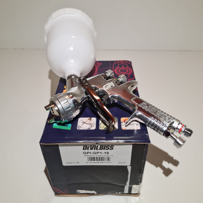 Pistol de vopsit DeVilbiss GPi-GP1, cupa plastic 560 ml, duza la alegere, consum aer incepand cu 270 l/min [11]