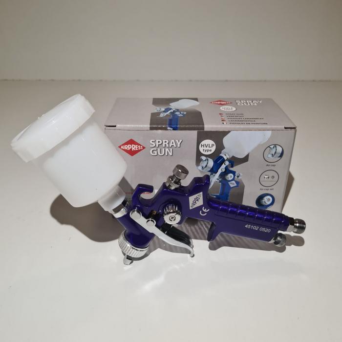Pistol de vopsit pentru retus, Airpress 45102, cana plastic 125 ml, duza la alegere, consum aer 29-99 l/min [13]