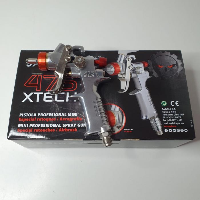 Pistol de vopsit pentru retus, Spray Gun 475 XTECH, cupa plastic 125 ml, duza 0.5 mm, consum aer de la 45 l/min [9]