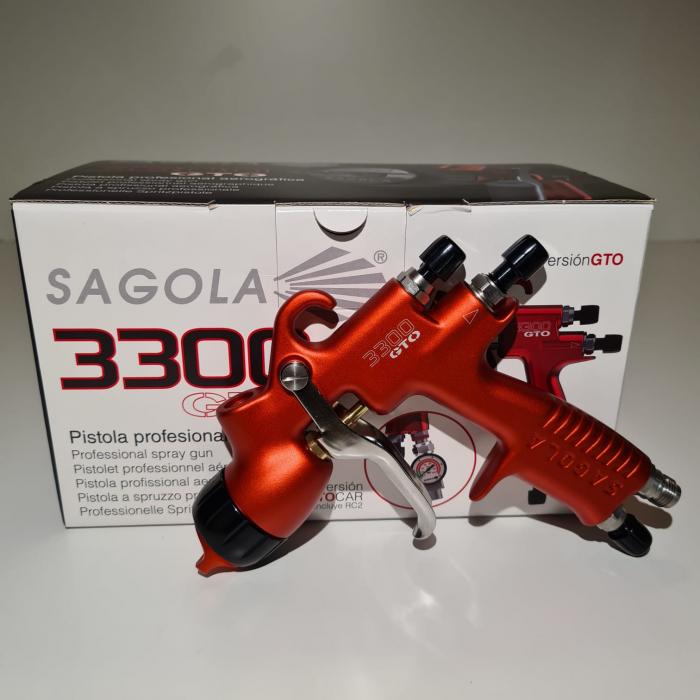 Pistol de vopsit Sagola 3300 GTO Car HVLP Vopsea + Manometru 13