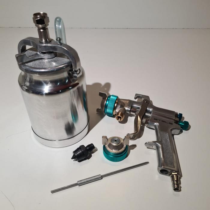 Pistol de vopsit, STELS 57364, cana jos metalica 1000 ml, duza 1.8 mm si 2.0 mm, consum aer 180-240 l/min [4]