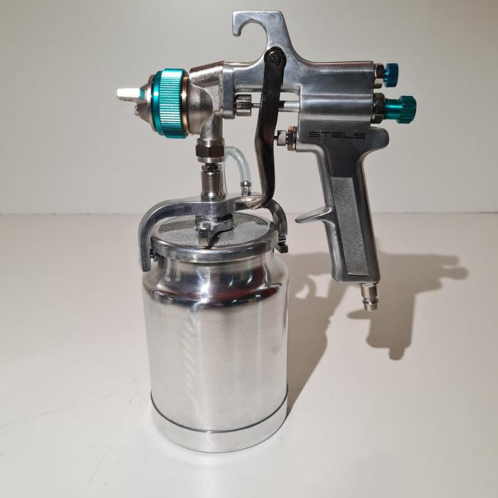 Pistol de vopsit, STELS 57364, cana jos metalica 1000 ml, duza 1.8 mm si 2.0 mm, consum aer 180-240 l/min [1]
