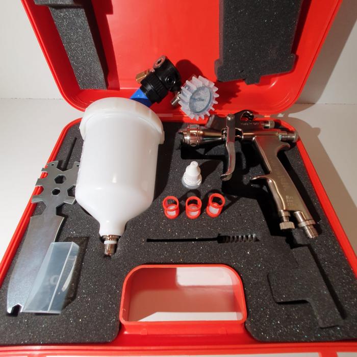 Pistol de vopsit, Walcom Slim HTE HD, consum aer 240 - 280 l/min, cana sus presurizata 600 ml, duza la alegere [6]