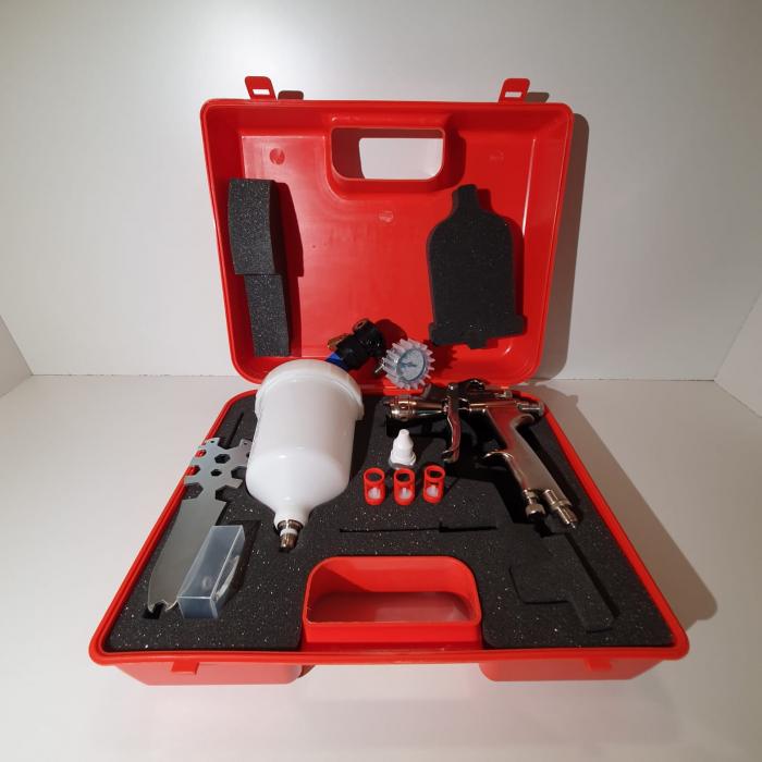 Pistol de vopsit, Walcom Slim HTE HD, consum aer 240 - 280 l/min, cana sus presurizata 600 ml, duza la alegere [7]