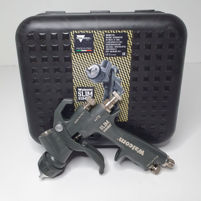 Pistol de vopsit, Walcom Slim KOMBAT HTE 8030xx,cupa plastic 600 ml, duza la alegere, valiza, regulator aer, consum aer incepand cu 250 l/min [9]
