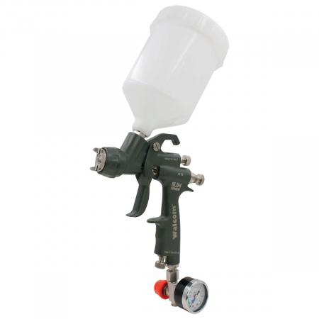 Pistol de vopsit, Walcom Slim KOMBAT HTE 8030xx,cupa plastic 600 ml, duza la alegere, valiza, regulator aer, consum aer incepand cu 250 l/min [0]