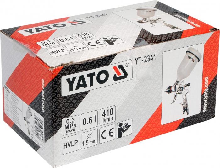 Pistol de vopsit Yato YT-2341, cupa plastic 600 ml, duza 1.5 mm 1