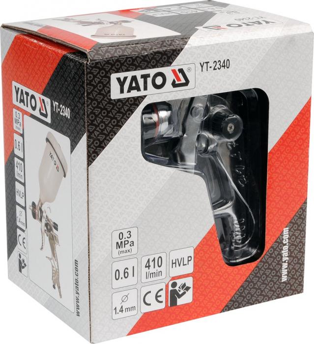 Pistol de vopsit Yato YT-2340, cupa plastic 600 ml, duza 1.4 mm [1]