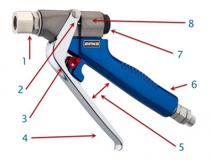 Pistol manual Binks F400 Flow-Guns Presiune max: 414 Bar 6