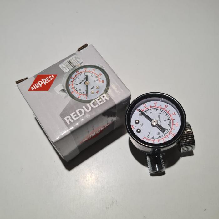 Regulator de presiune aer cu manometru mecanic, Airpress 44807, montare pe furtun, cupla 1/4, maxim 12 bar [1]