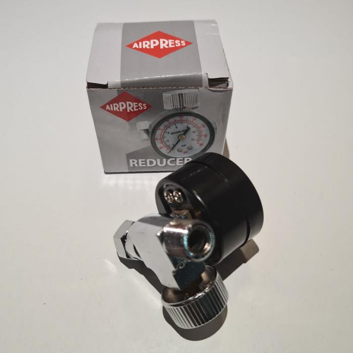 Regulator de presiune aer cu manometru mecanic, Airpress 45748-R, montare pe furtun, cupla 1/4, maxim 10 bar [1]