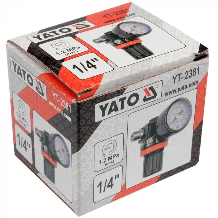 Regulator de presiune  cu manometru mecanic,Yato YT-2381, montare pe furtun [1]