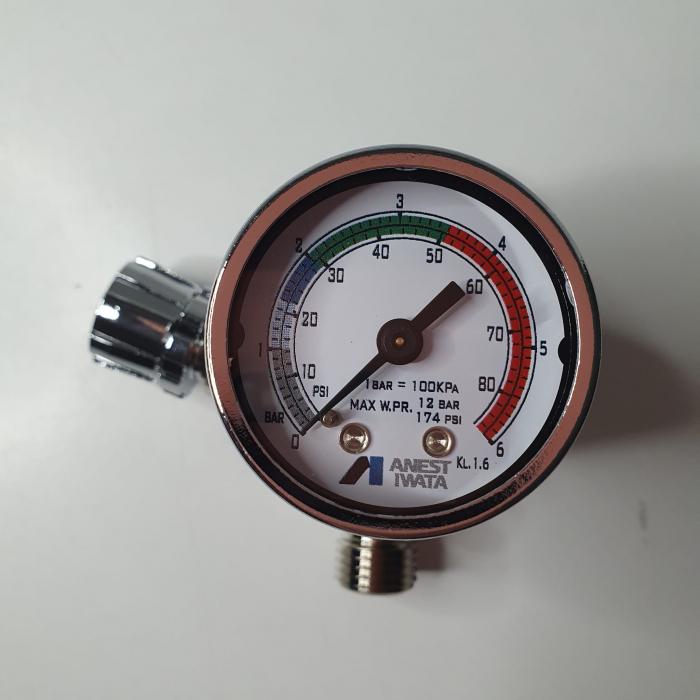 Regulator de presiune aer cu manometru mecanic, Anest Iwata AFV-1, montare pe furtun, cupla 1/4, maxim 12 bar [5]