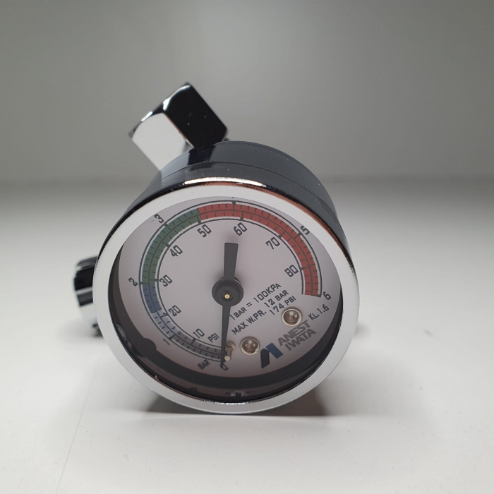 Regulator de presiune aer cu manometru mecanic, Anest Iwata AFV-1, montare pe furtun, cupla 1/4, maxim 12 bar [4]