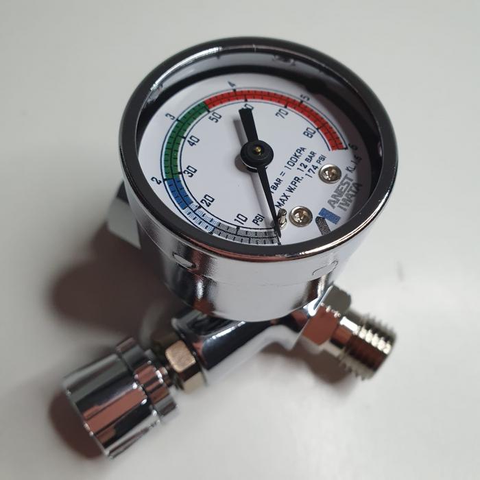 Regulator de presiune aer cu manometru mecanic, Anest Iwata AFV-1, montare pe furtun, cupla 1/4, maxim 12 bar [1]