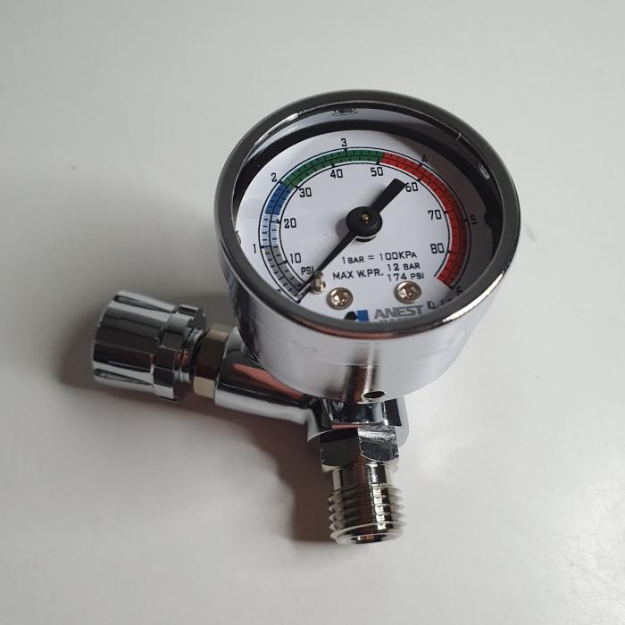 Regulator de presiune aer cu manometru mecanic, Anest Iwata AFV-1, montare pe furtun, cupla 1/4, maxim 12 bar [3]
