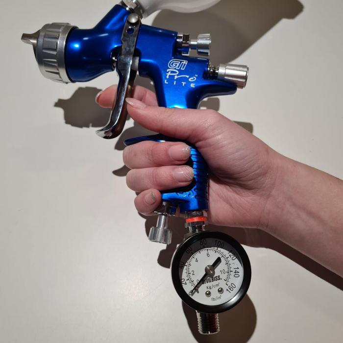 Regulator de presiune aer cu manometru mecanic, DeVilbiss HAV-501, montare pe furtun, cupla 1/4, maxim 11 bar 2
