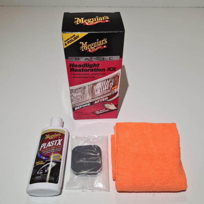Set restaurare faruri, Meguiar's G2960, contine pasta polish, laveta microfibra, tablete hartie abrazive [1]