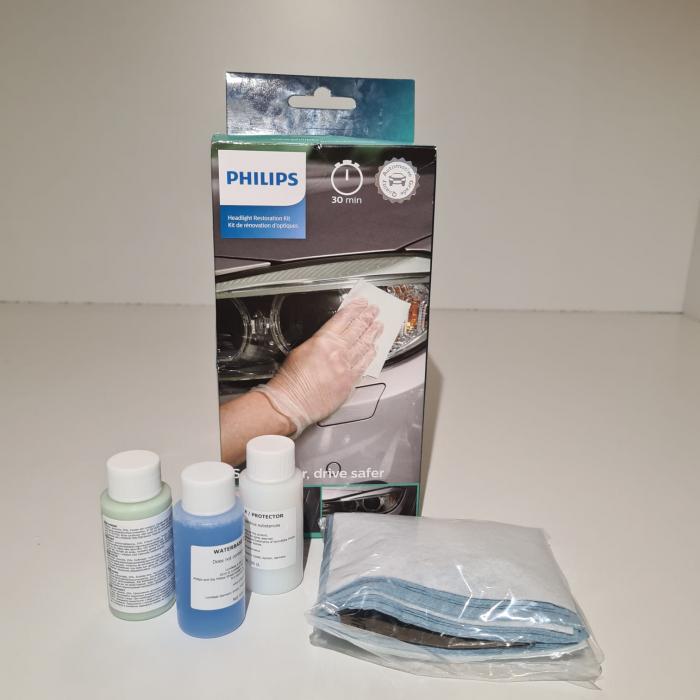 Set restaurare faruri, Philips HRK00XM, contine pretratament, solutie curatare, solutie luciu, coli abrazive, lavete, manusi [2]