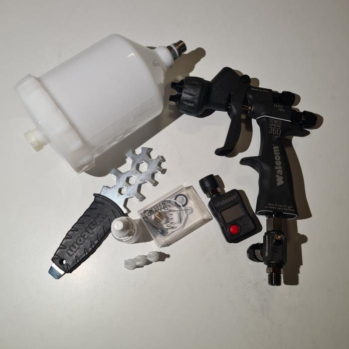 Pistol de vopsit, Walcom Genesi Carbonio 360 Light HTE clear(DIGITAL),cupa plastic 600 ml, duza la alegere, valiza, regulator aer, consum aer 380 l/min [6]