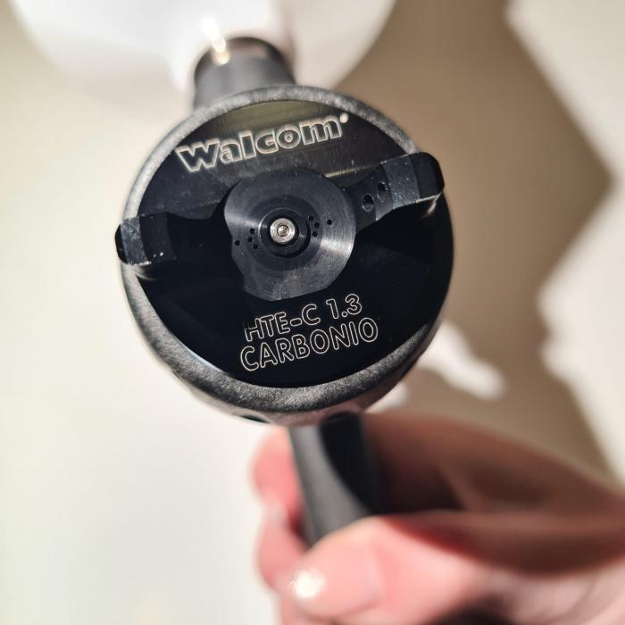 Pistol de vopsit, Walcom Genesi Carbonio 360 Light HTE clear(DIGITAL),cupa plastic 600 ml, duza la alegere, valiza, regulator aer, consum aer 380 l/min [5]