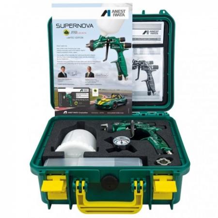 Pistol de vopsit Anest Iwata Pininfarina Lotus 3, pachet Master Kit, duza ø 1,3 mm ETS, cana 600 ml, regulator presiune AFV-23