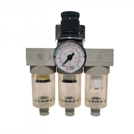 Baterie filtrare aer comprimat, MW A300, filtrare aer vopsitorie cu regulator, baterie 3 filtre, pana la 0.01 microni, debit 200 l/min [0]