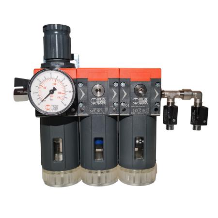 Baterie filtrare aer comprimat, MW B300, filtrare aer vopsitorie cu regulator, baterie 3 filtre, pana la 0.003 microni cu carbon activ, debit 800 l/min [0]